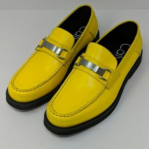 Calvin Klein Yellow Leather Loafers Size 8.5
